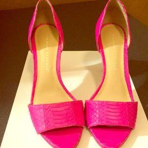 "Loeffler Randall Hot Pink Shoe ""snakeskin"" size 6"